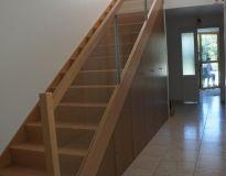 Escalier hêtre rampe vitrée