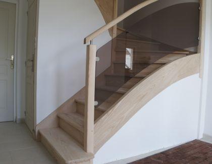 escalier contemporain et moderne bois et verre sur mesure bretagne. Black Bedroom Furniture Sets. Home Design Ideas