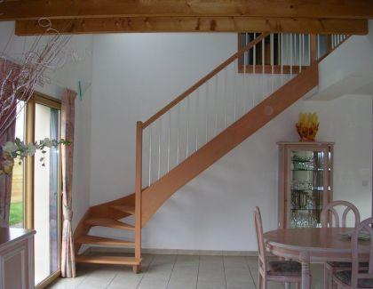 Escalier 1/4 tournant en sapelli